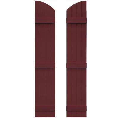 14 in. x 81 in. Board-N-Batten Shutters Pair, 4 Boards Joined with Arch Top #078 Wineberry