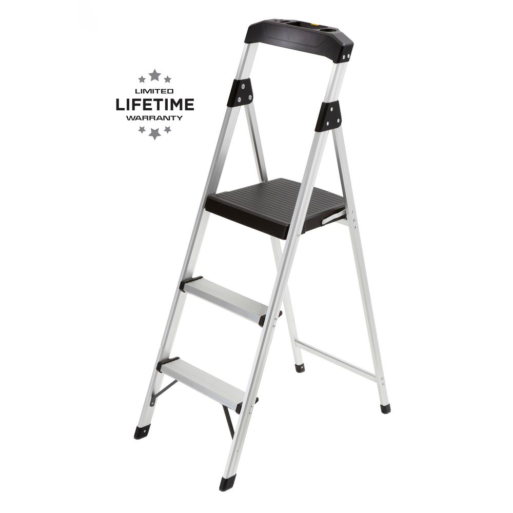GorillaLadders Gorilla Ladders 3-Step Aluminum Step Stool Ladder with 225 lbs. Type II Duty Rating