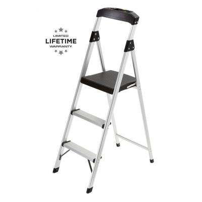 3-Step Aluminum Step Stool Ladder with 225 lbs. Type II Duty Rating