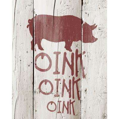 "16 in. x 20 in. ""Red Pig Goes Oink Oink Oink"" Barnwood Framed Wall Art Print"