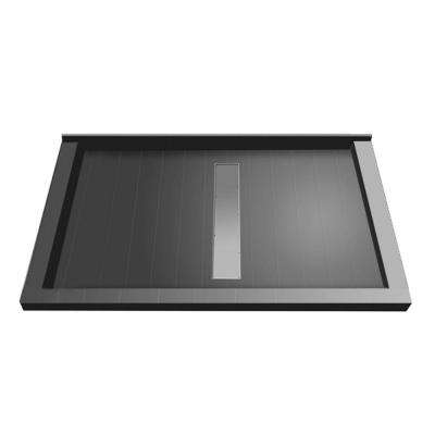 34 in. x 48 in. Triple Threshold Shower Base with Center Drain and Tileable Trench Grate