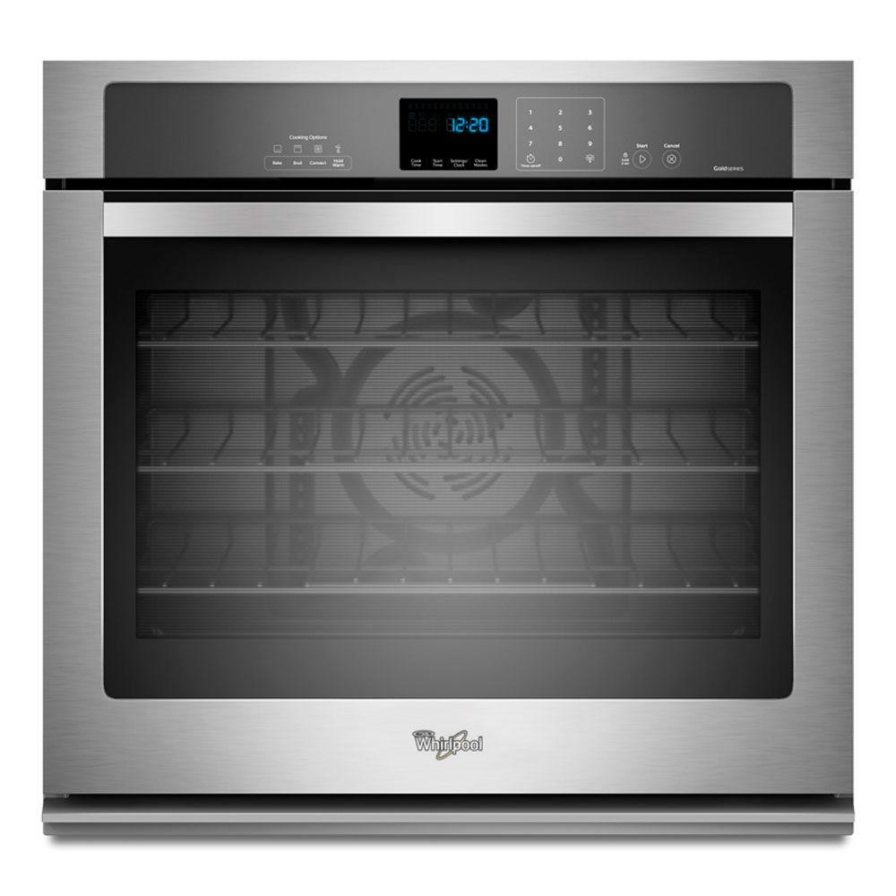 Whirlpool Gold 30 in. Single Electric Wall Oven Self-Cleaning with Convection in Stainless Steel