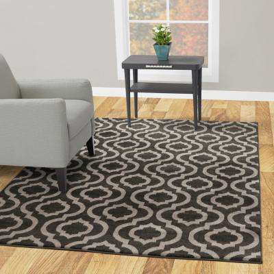Jasmin Collection Charcoal Grey and Grey 7 ft. 10 in. X 9 ft. 10 in. Moroccan Trellis Area Rug