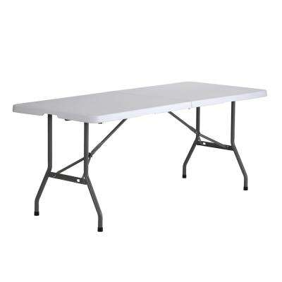 White Plastic 6 ft. Fold-in-Half Table