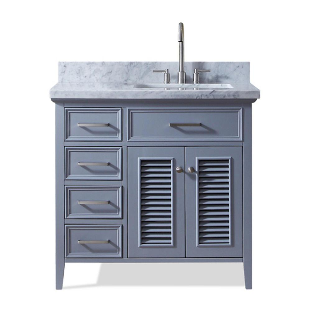 Ariel Kensington 37 in. Bath Vanity in Grey with Marble Vanity Top in Carrara White with White Basin