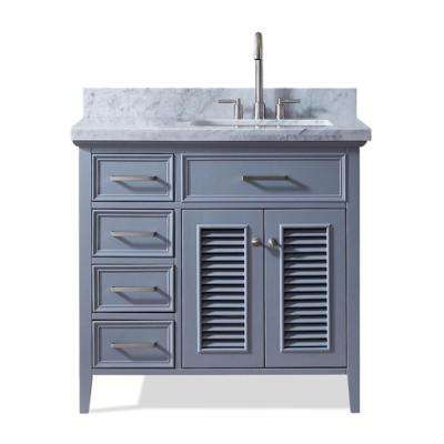 Kensington 37 in. Bath Vanity in Grey with Marble Vanity Top in Carrara White with White Basin