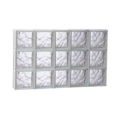 36.75 in. x 23.25 in. x 3.125 in. Frameless Wave Pattern Non-Vented Glass Block Window
