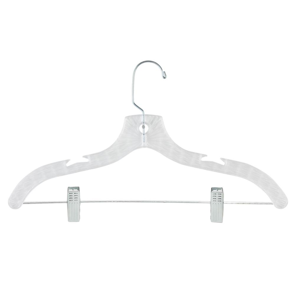 Crystal Plastic Suit Hanger with Metal Rod and Clips (6-Pack)