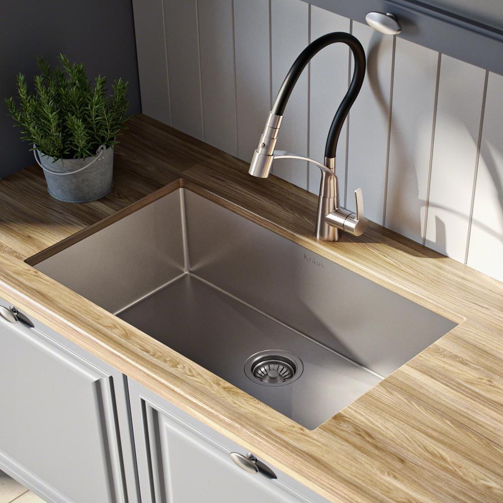 KRAUS Standart PRO Undermount Stainless Steel 26 in. Single Bowl Kitchen  Sink