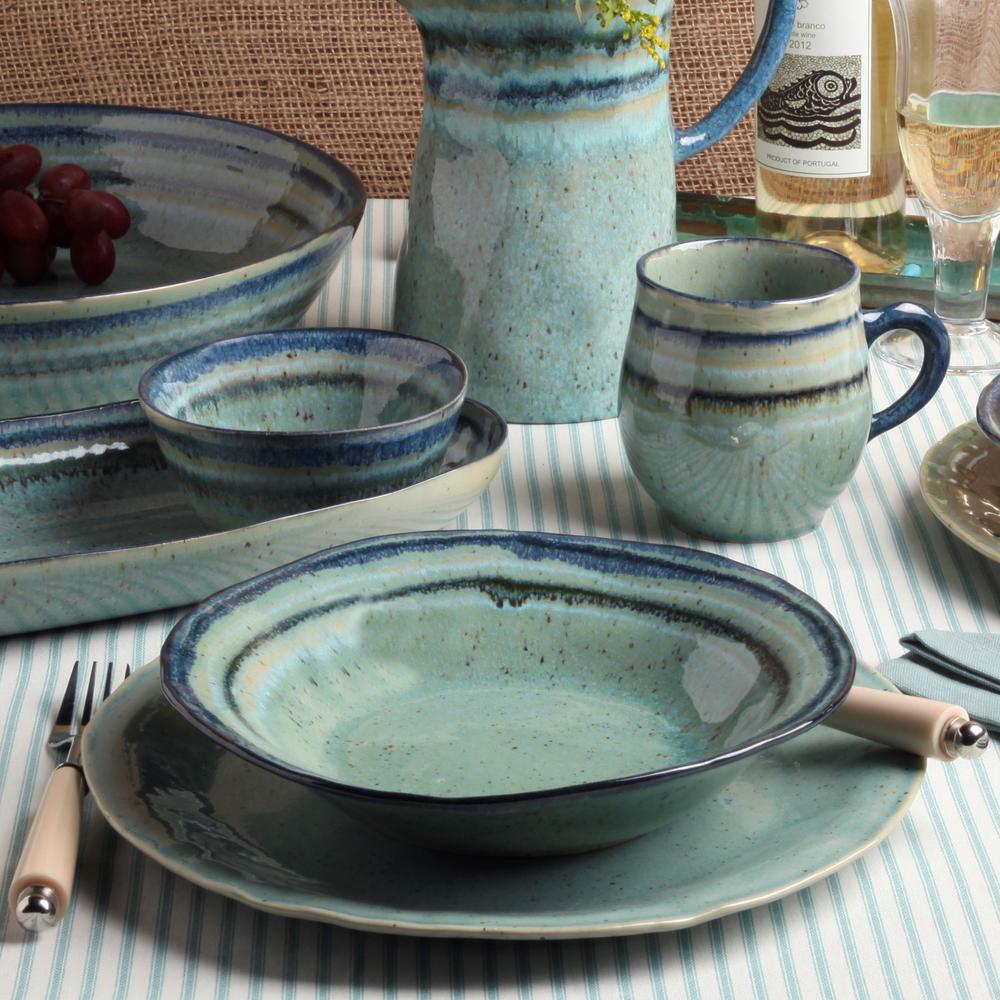 Sausalito 16 fl. oz Green Ceramic Stoneware Pasta Bowl (Set of 6)