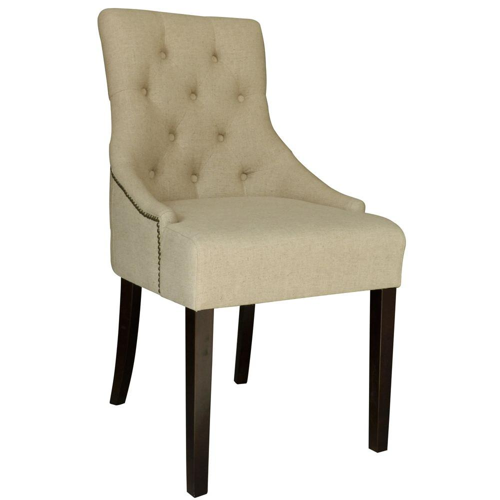 Worldwide Homefurnishings Linen Accent Chair with Stud Detailing in Natural Linen (Set of 2)