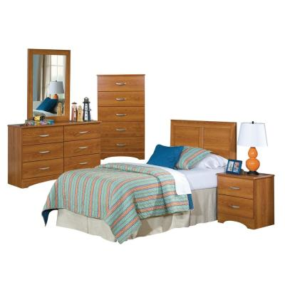Five Piece Bedroom set including Twin Headboard, Five Drawer Chest, Six Drawer Dresser, Mirror, and Night Stand.