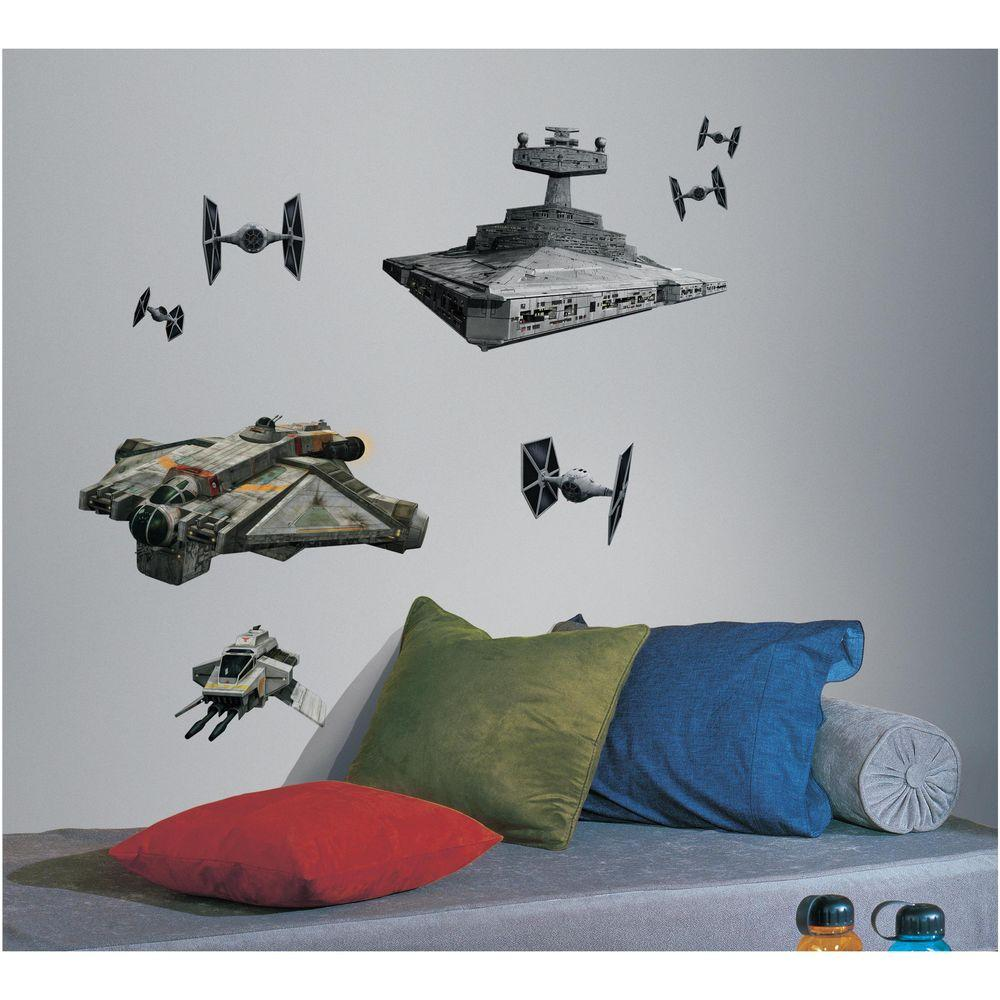 RoomMates 5 in. x 19 in. Star Wars Rebel and Imperial Ships 9-Piece Peel and Stick Giant Wall Decal
