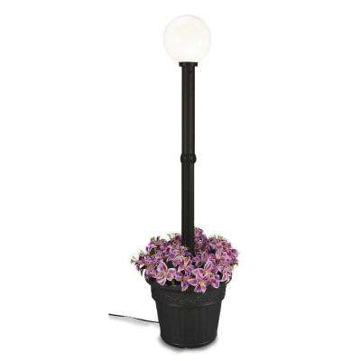 Milano Single White Globe plug-in Black Lantern with Planter