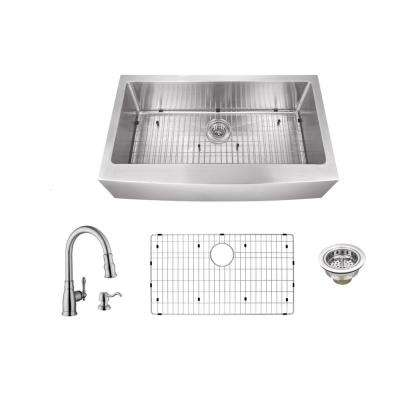 All-In-One Apron Front Stainless Steel 30 in. Single Bowl Kitchen Sink with Arc Kitchen Faucet