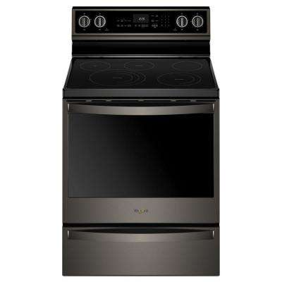 30 in. 6.4 cu. ft. Electric Range with Self-Cleaning in Black Stainless