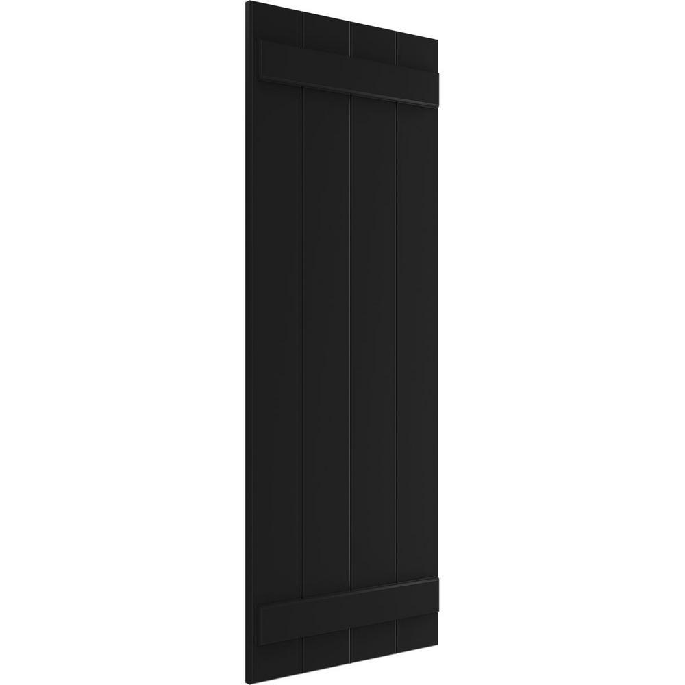 Ekena Millwork 21 1 2 X 52 True Fit Pvc Four Board Joined Board N Batten Shutters Black Per Pair 1573434 The Home Depot