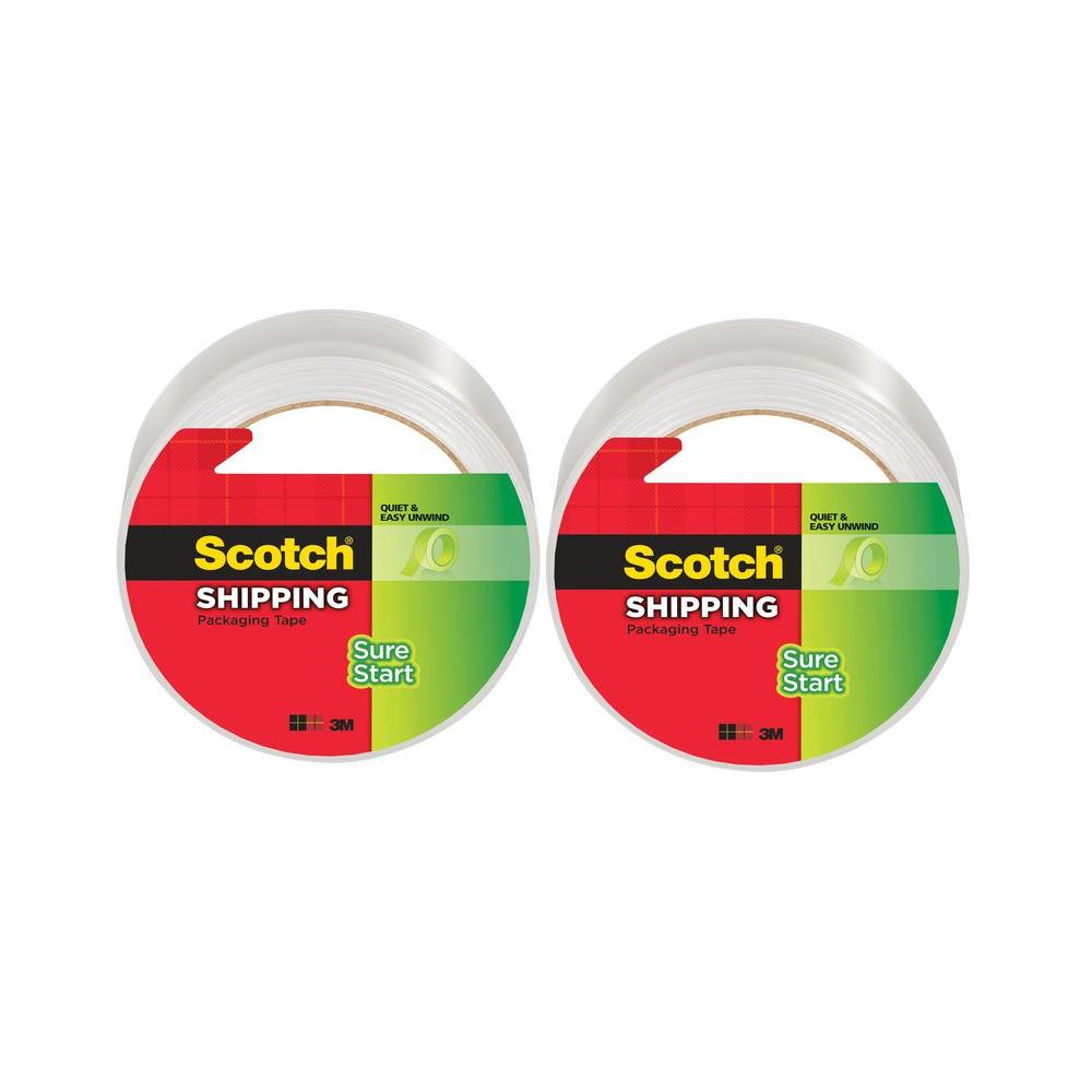 3M Scotch 1.88 in. x 54.6 yds. Sure Start Shipping Packaging Tape (2-Pack)
