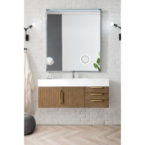 Mercer Island 48 in. W Single Bath Vanity in Latte Oak with Solid Surface Vanity Top in Glossy White with White Basin