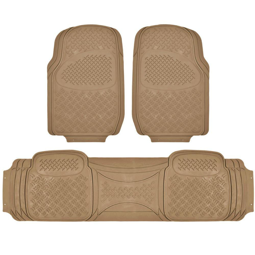 Suv Floor Mats >> Bdk All Weather Mt 713 Beige Heavy Duty 3 Piece Car Or Suv Or Truck