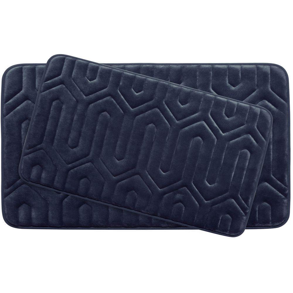 Thea Indigo Memory Foam 2-Piece Bath Mat Set