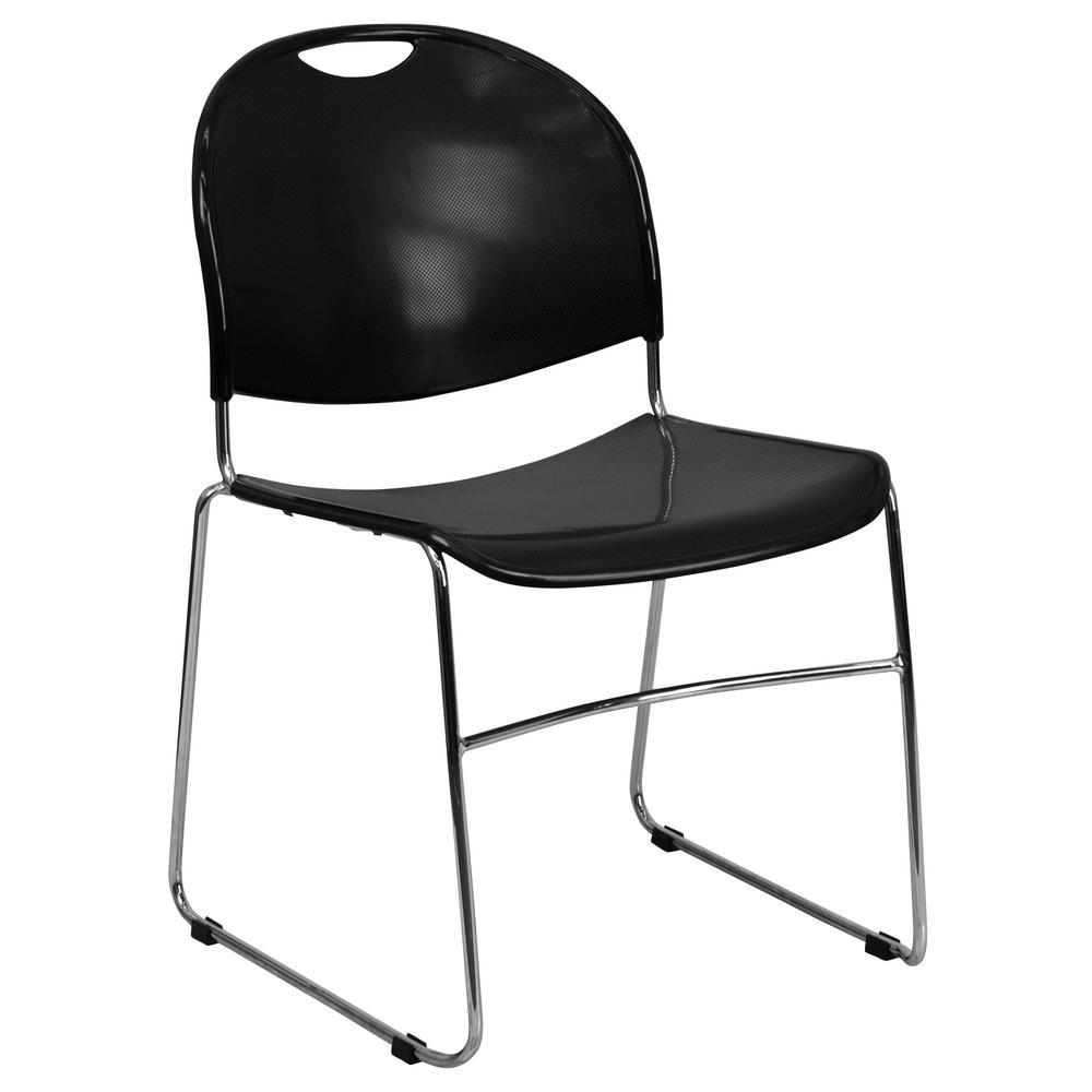 Black Plastic/Chrome Frame Stack Chair