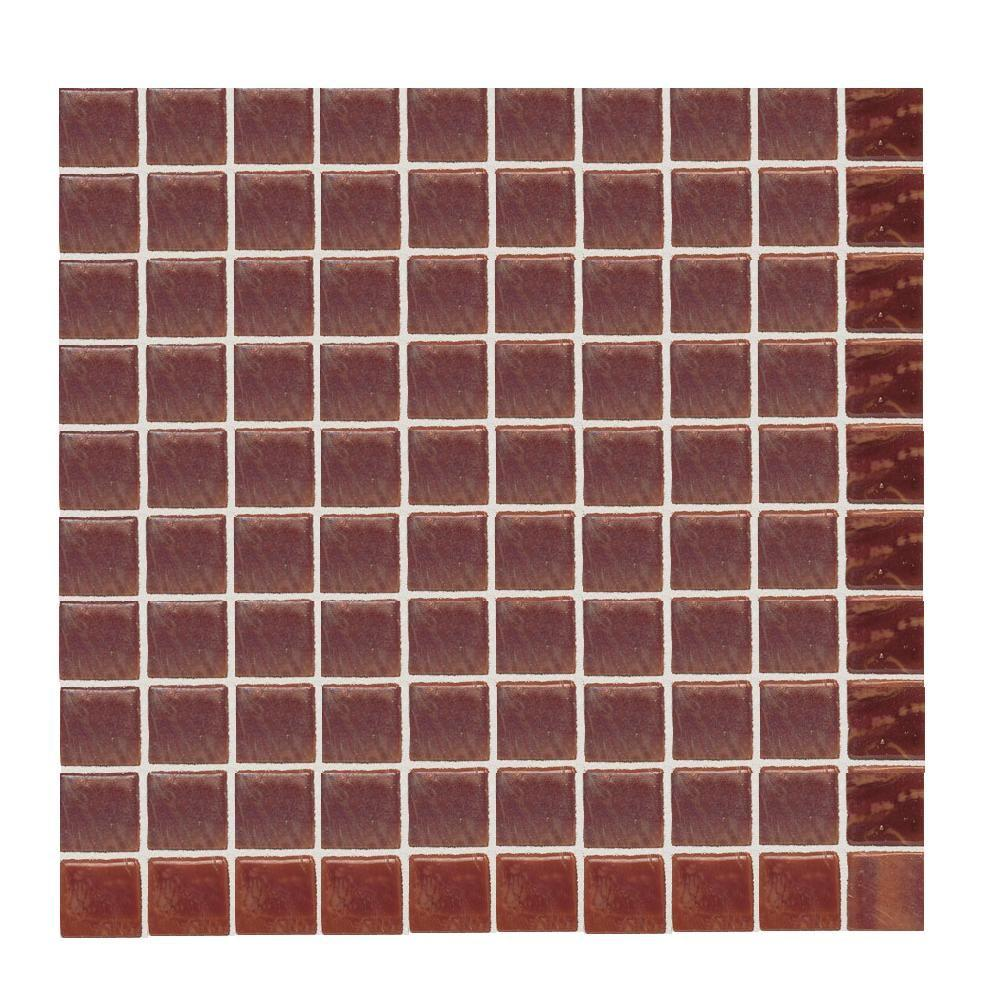 Daltile Sonterra Glass Terra Cotta Opalized 12 in. x 12 in. x 6 mm Glass Sheet Mounted Mosaic Wall Tile