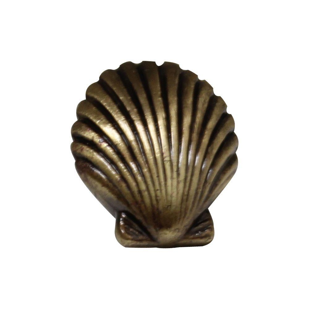 Whitehaus Collection 1-3/8 in. Antique Brass Seashell Cabinet Knob - Whitehaus Collection 1-3/8 In. Antique Brass Seashell Cabinet Knob