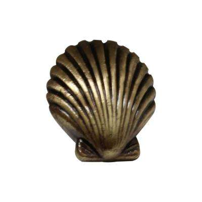 1-3/8 in. Antique Brass Seashell Cabinet Knob