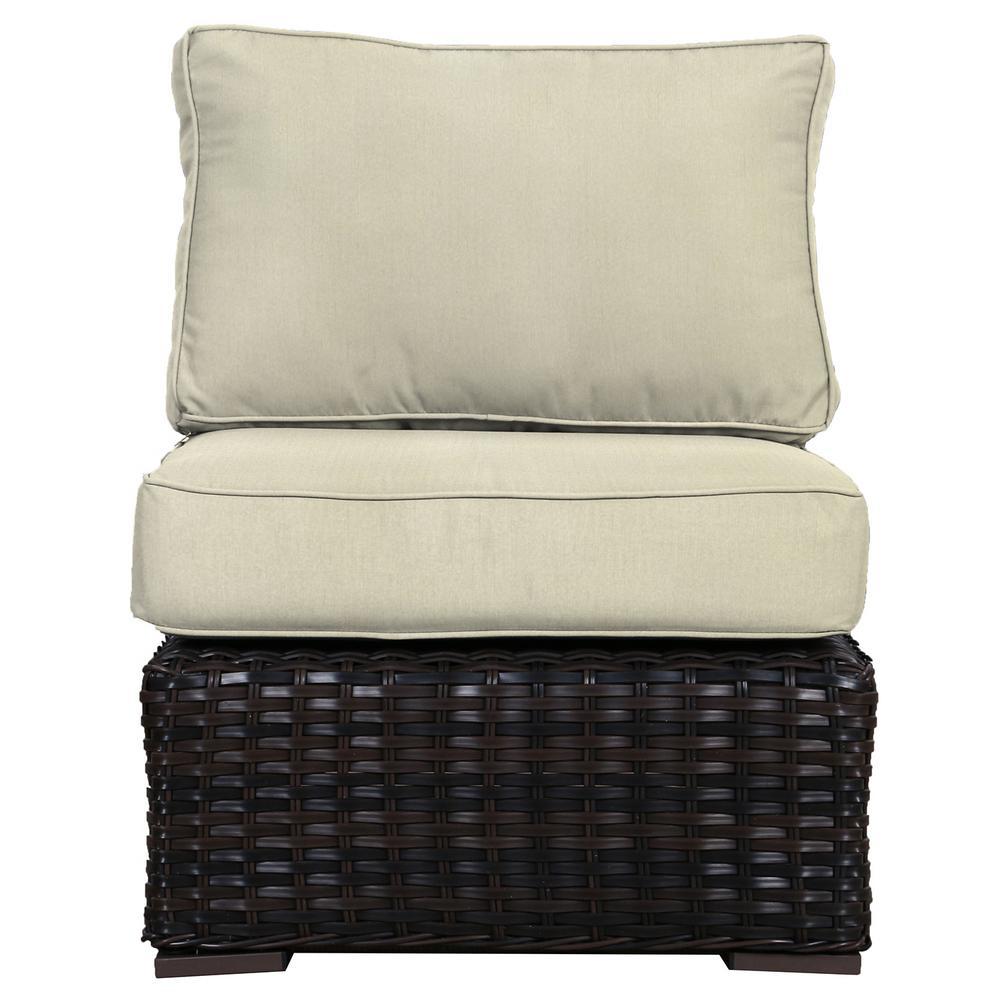 Santa Monica Patio Wicker Armless Middle Outdoor Sectional Chair with Sunbrella Canvas Cushion