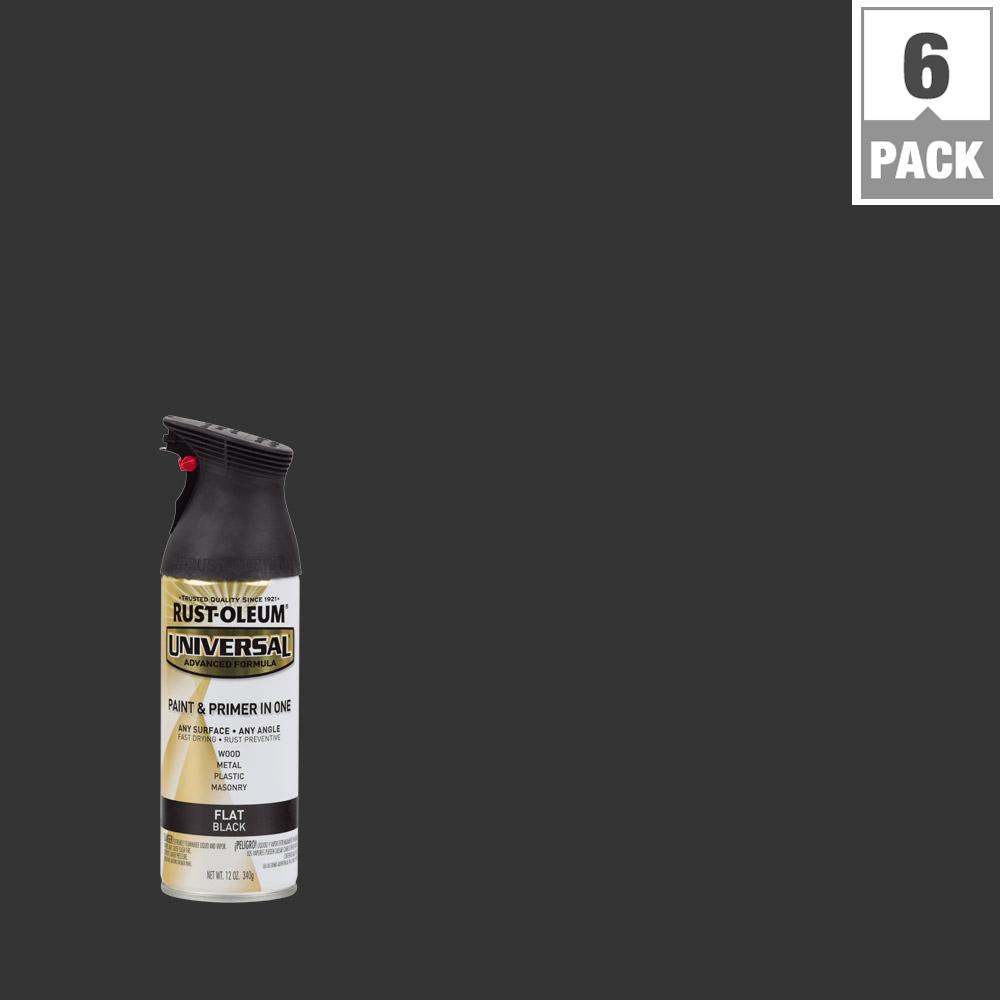 Rust Oleum Universal 12 Oz All Surface Flat Black Spray Paint And Primer In One 6 Pack