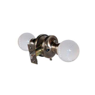 Baseball Crystal Antique Brass Privacy Bed/Bath Door Knob with LED Mixing Lighting Touch Activated