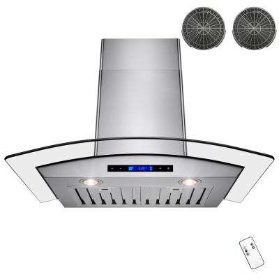 30 in. Convertible Kitchen Wall Mount Range Hood in Stainless Steel with Arched Tempered Glass, Remote and Carbon Filter