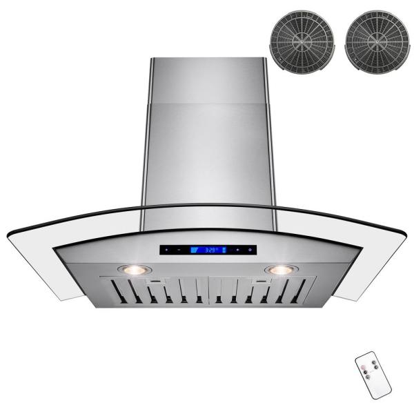 AKDY 30u0022 Wall Mount Range Hood Stainless Steel Vent Hood with Remote Control and Carbon Filters