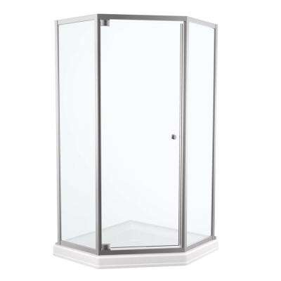 38 in. x 70 in. Framed Neo Angle Pivot Shower Door in Stainless with 38 in. Neo Angle Base in White