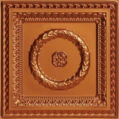 Laurel Wreath 2 ft. x 2 ft. PVC Glue-up or Lay-in Ceiling Tile in Copper