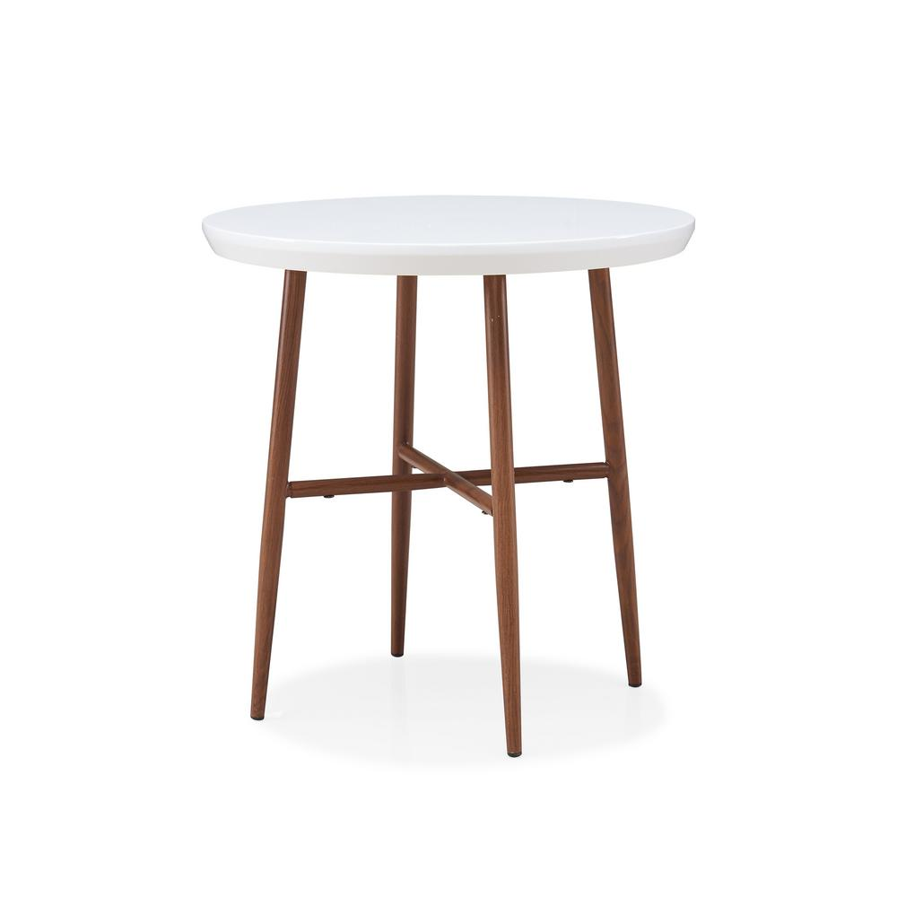 Handy Living Miami White Round End Table With Brown Metal Legs
