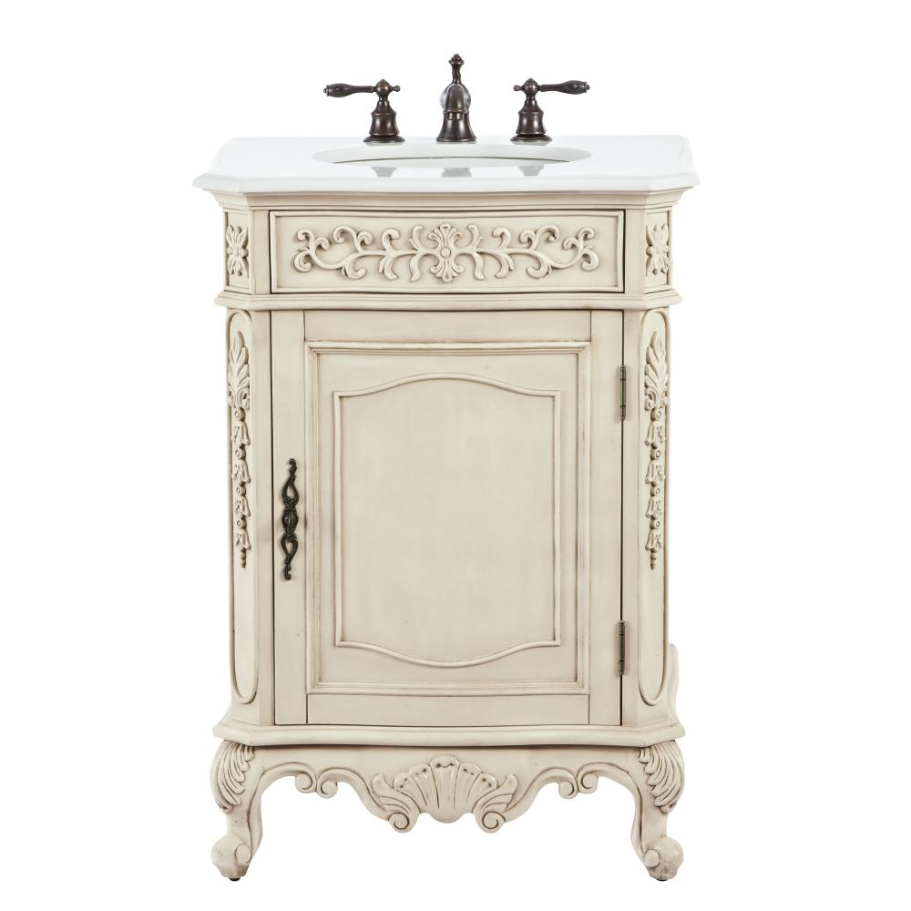 Home Decorators Collection Winslow 26 in. W Vanity in Antique White with Marble Vanity Top in White with White Basin