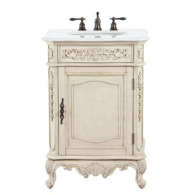 Winslow 26 in. W Vanity in Antique White with Marble Vanity Top in White with White Basin