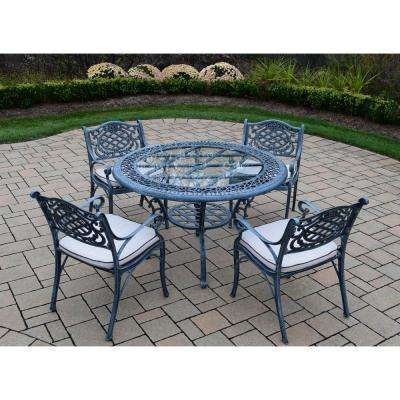 5-Piece Aluminum Outdoor Dining Set with Oatmeal Cushions