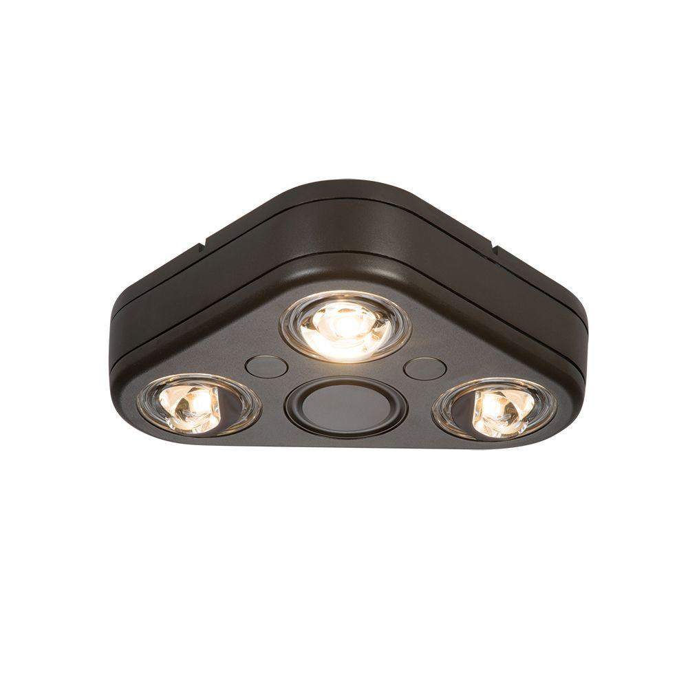 All-Pro Revolve Bronze Triple Head Outdoor Integrated LED Security ...