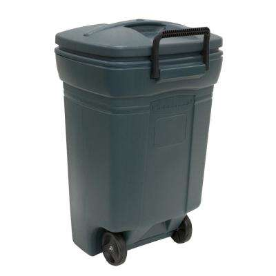 45 Gal. Wheeled Trash Can in Evergreen with Lid
