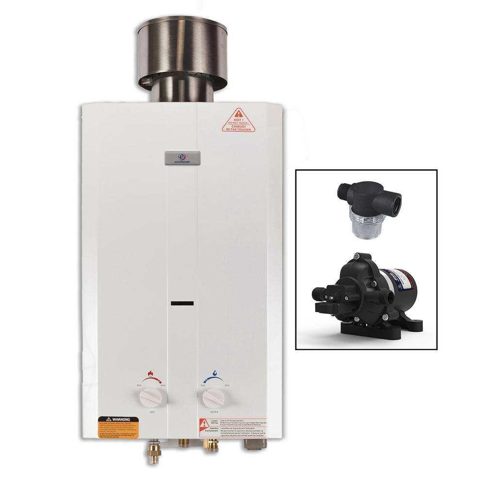 Eccotemp Eccotemp L10 3.0 GPM Portable 75,000 BTU Liquid Propane Outdoor Tankless Water Heater with Eccoflo Water Pump & Strainer