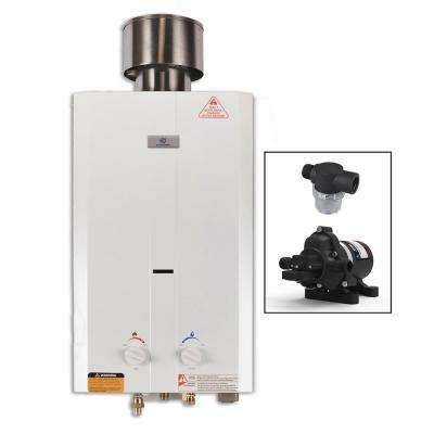 Eccotemp L10 3.0 GPM Portable 75,000 BTU Liquid Propane Outdoor Tankless Water Heater with Eccoflo Water Pump & Strainer