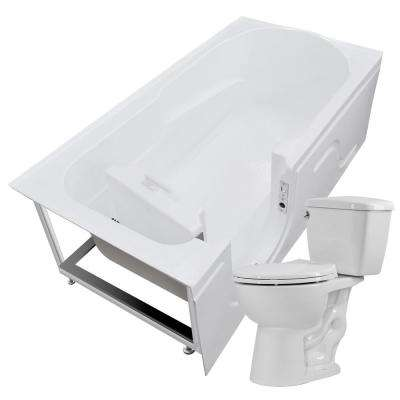 Step-In 59.6 in. Walk-In Non-Whirlpool Bathtub in White with 1.28 GPF Single Flush Toilet