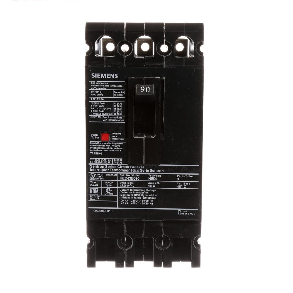 siemens 90 amp 3 pole type ed 42 ka circuit breaker hed43b090 the home depot. Black Bedroom Furniture Sets. Home Design Ideas