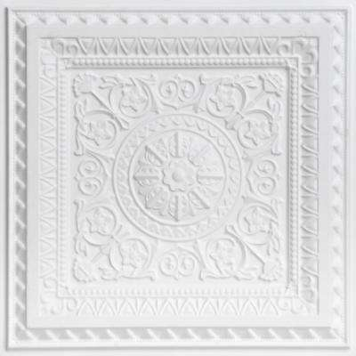 La Scala 2 ft. x 2 ft. PVC Glue-up or Lay-in Ceiling Tile in White Matte