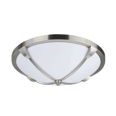 16 in. 20-Watt Satin Nickel Integrated LED Ceiling Flush Mount with Milk White Acrylic Diffuser