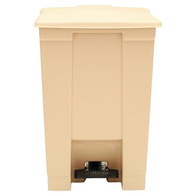12 Gal. Waste Container Plastic Square Step-On Indoor Utility in Beige