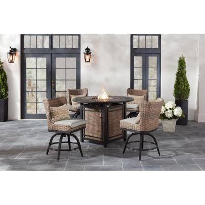 Hazelhurst 5-Piece Brown Wicker Outdoor Patio High Dining Fire Pit Seating Set with CushionGuard Stone Gray Cushions